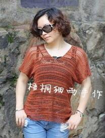 夏日前后V领时尚简约钩编罩衫