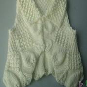 素色有领桂花叶子宝宝小马甲 棒针编织