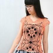 菠萝情 钩针编织精美拼花罩衫