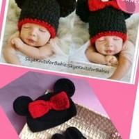 超萌米妮鞋帽套装 米妮帽子的编织方法