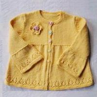 女童春秋裙式棒针编织开衫