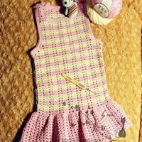 婴幼儿钩针条纹背心式小美裙