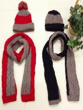 保暖御寒情侣针织围巾帽子套装
