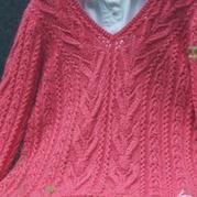 云柔?#21152;?#20113;马 V领森女系棒针毛衣