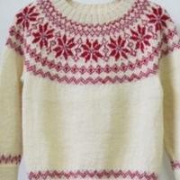 羊驼棒针编织女童圆肩提花毛衣