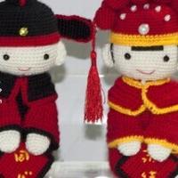 结婚礼物 钩针编织中式结婚娃娃