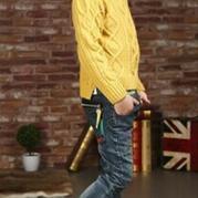 麻花先生 仿淘宝韩版男童前短后长开叉套头衫