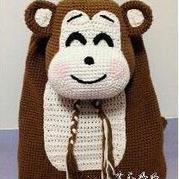 儿童钩针编织萌猴双肩包