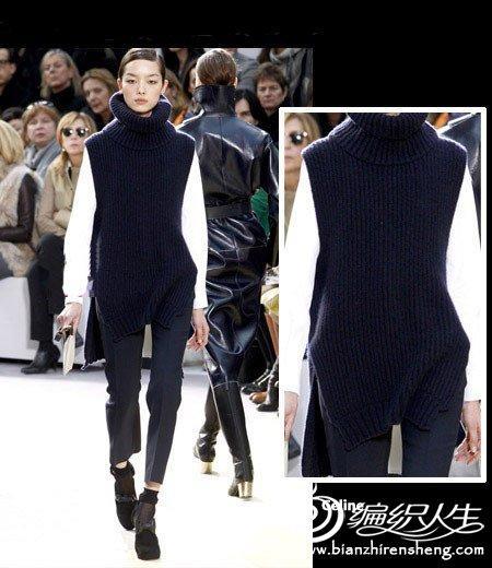 2011T台秀棒针高领毛衣编织款式图片