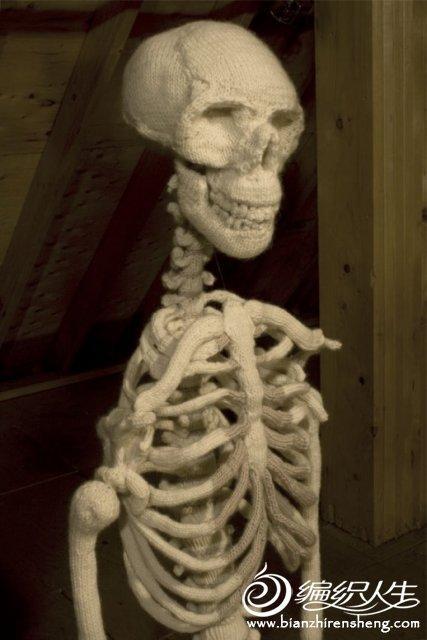 手工毛线编织图案之恐怖的骨架娃娃图片