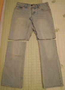 牛仔裤改造牛仔裙_废物利用 旧牛仔裤改造牛仔裙和牛仔包图片-编织人生
