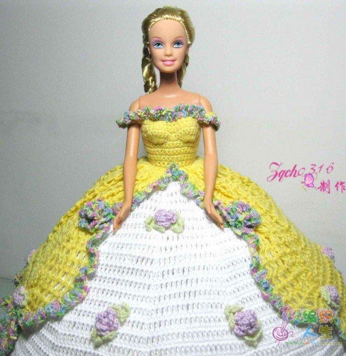 毛线编织之芭比娃娃宫庭礼服系列