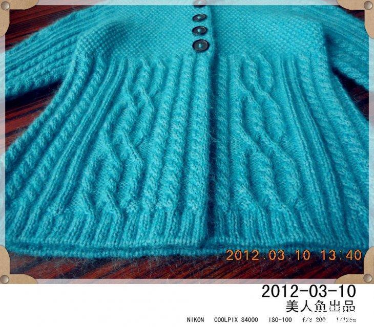 织给3-6岁可爱多的湖兰色小外套 附织法