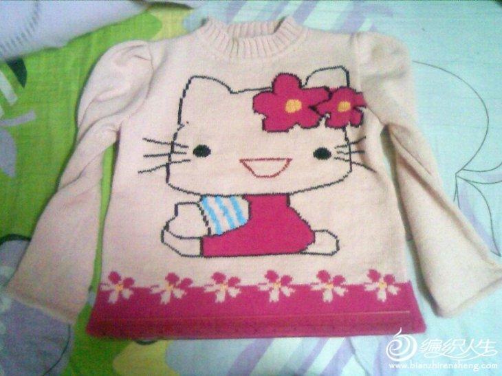 6-9岁儿童毛衣 凯蒂猫( hello kitty)图案-编织教程