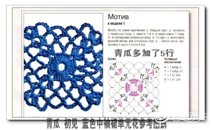 毛线编织蓝色镂空中袖裙 青瓜手工 有花样图解