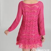 从下往上编织的镂空花毛线裙子 有喜欢的吗?