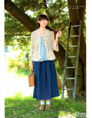 森女系斗篷式镂空长袖小开衫紫妍(兰心蕙质)高清图解