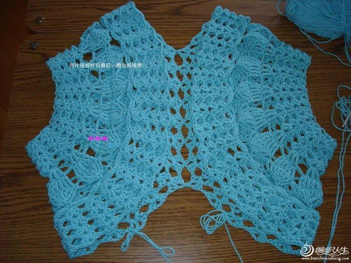 圈圈贝壳式时尚小背心 女士镂空毛衣款式图解-编织