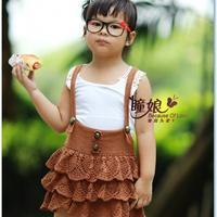 瞳谣背带蛋糕裙 适合3-6岁女童的毛线背带裙