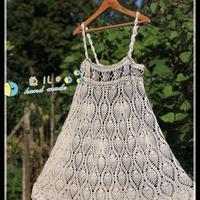 白色吊带菠萝 毛线编织裙子款式图解