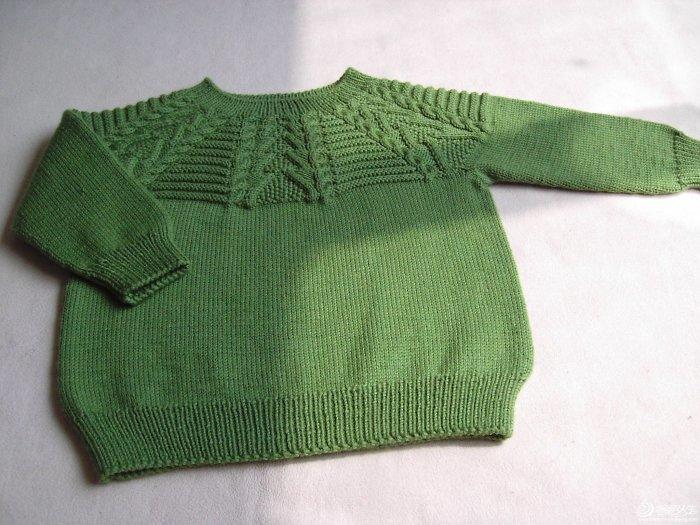 从上往下织的绿色圆肩儿童毛衣 有图解说明