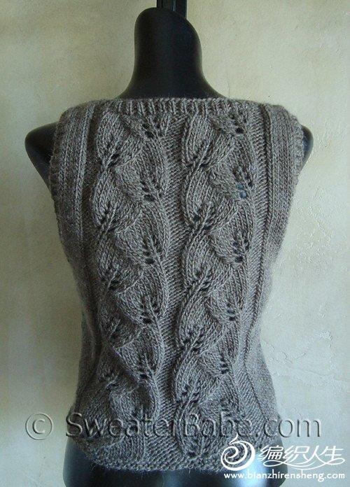 秋天到了来织这款背心吧 女士开衫背心毛衣款
