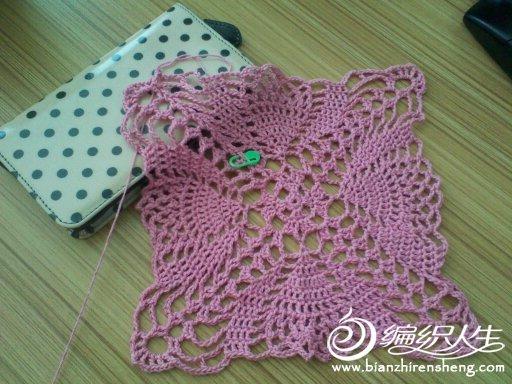 时尚菠萝花罩衣粉红佳人 女士镂空毛衣款式(图解+真人