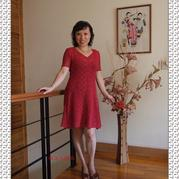 扇形花红毛线裙 钩针编织短袖镂空裙子款式图解