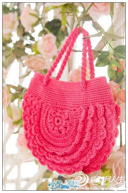 个的公主包包 毛线钩织包包款式 有过程图和自制图解