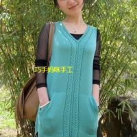 背心外套柳绿 毛线编织女士长款毛衣背心款式图解教程