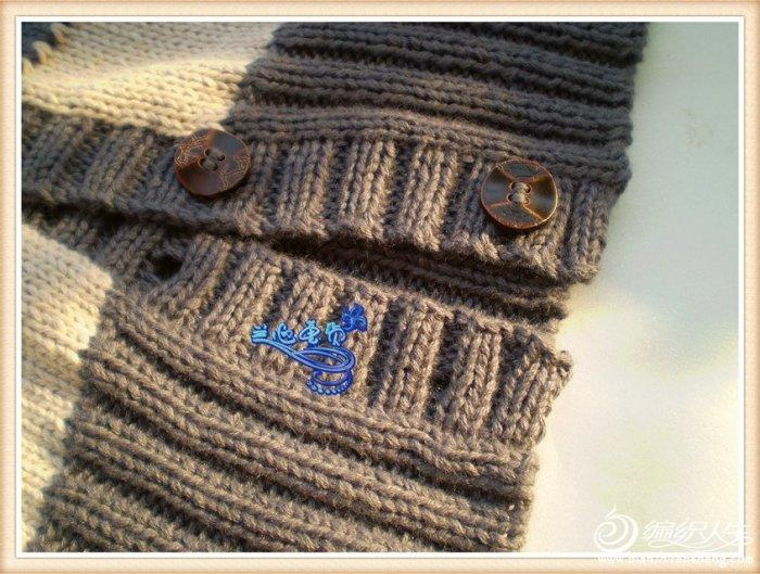 领中袖条纹衣 棒针编织女士毛衣外套款式图解图片