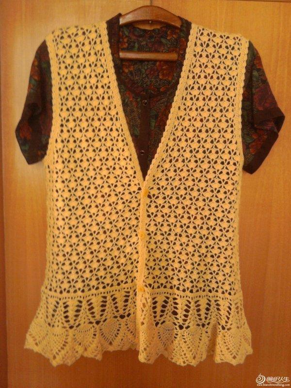黄色毛背心 毛线钩织女士毛衣镂空背心款式图解-编织