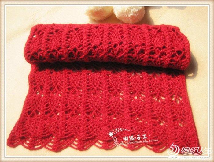 柔情菠萝披肩围巾 钩针编织毛线围巾款式图解
