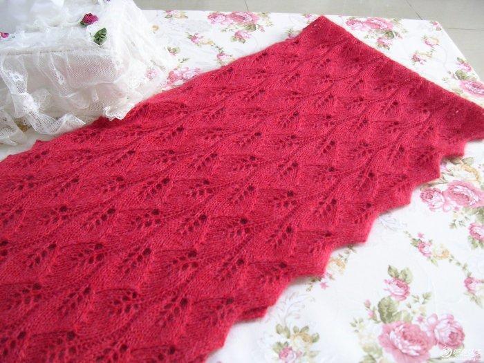 简单版红叶围巾含霜 毛线编织围巾款式图解图片
