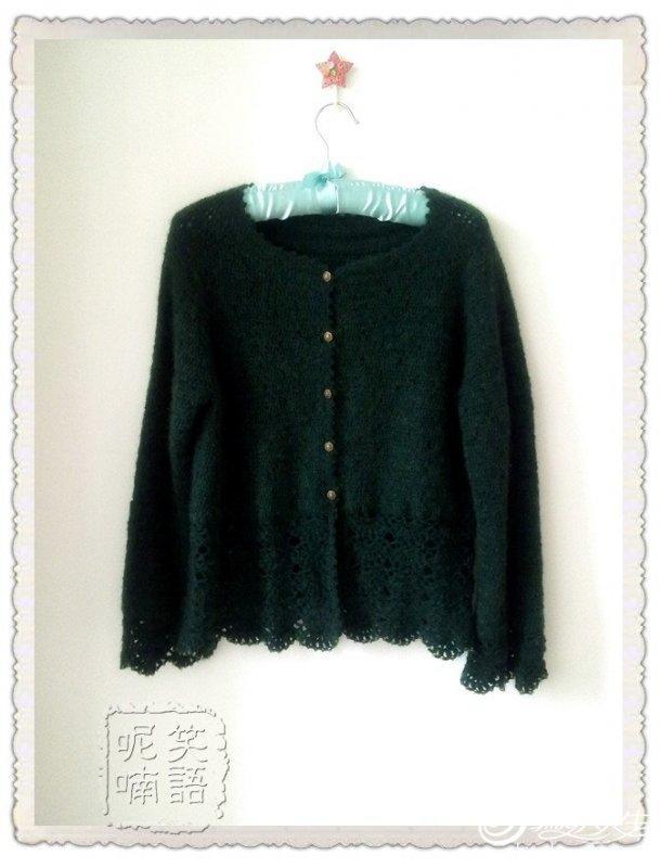 经典钩针款外套雅绿 毛线编织女士长袖开衫款式图解