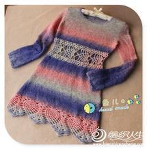 小鱼的长款段染毛衣裙轻舞 有详细过程及图解新手可织
