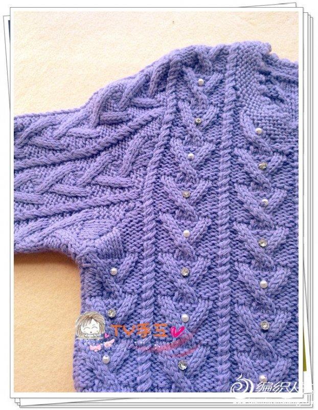 带套头衣紫竹 棒针编织长袖毛衣款式图解教程图片