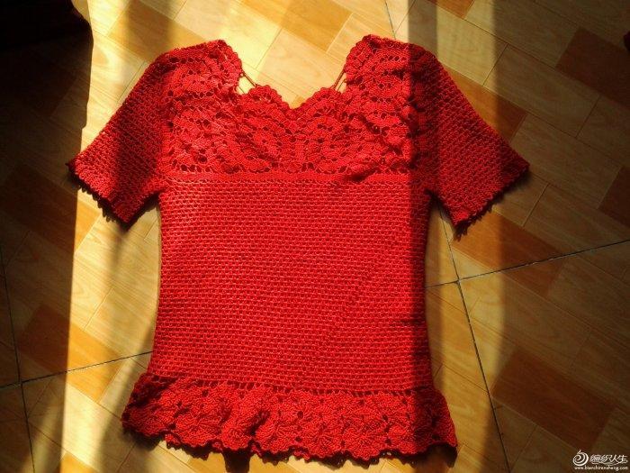 钩针编织女士短袖镂空毛衣十八弯 有图解