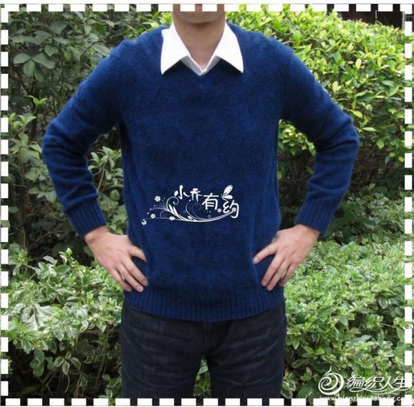 毛线编织男士v领长袖毛衣蓝格(自制图解和结构图)