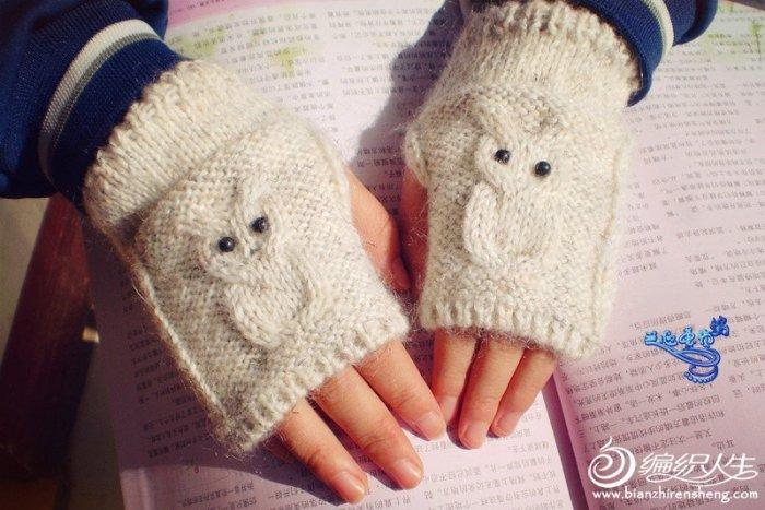 棒针编织猫头鹰毛衣+手套款式图解