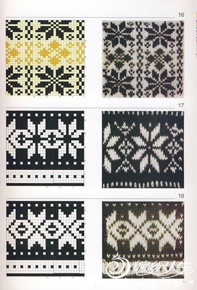 棒针编织镂空花样_美丽实用的毛衣棒针编织配色图案(附图解)-编织教程-编织人生