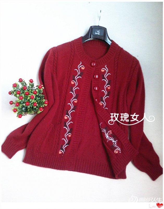 给妈妈编织的羊绒衣 棒针编织女士毛衣外套花样图解图片