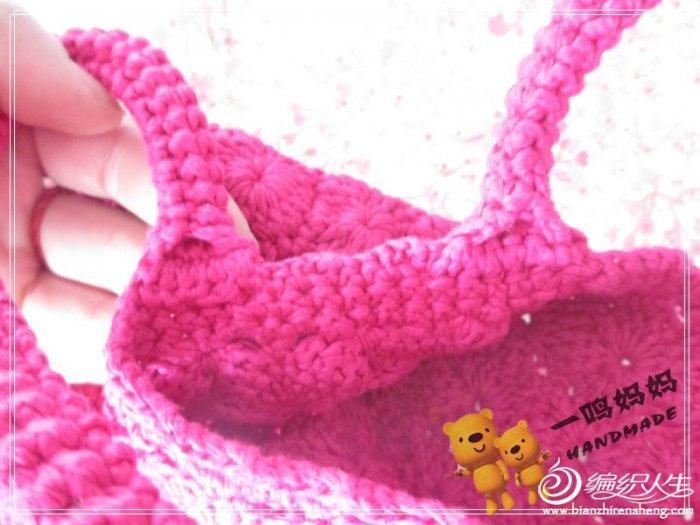 玫红扁带棉包包 毛线钩织包包款式图解