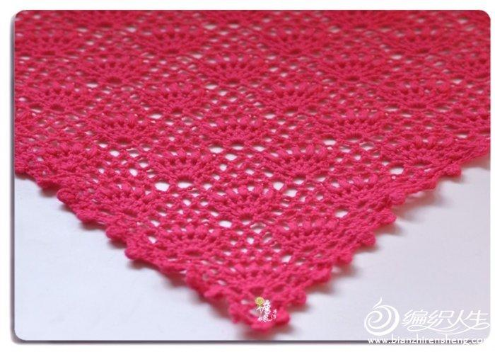 小桃红三角围巾 钩针编织围巾花样款式图解