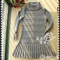 少女裙式长款毛衣 棒针编织女士长袖翻领毛衣花样图解