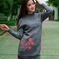 圆肩中长款女生毛衣回味 棒针编织女生毛衣花样款式图解