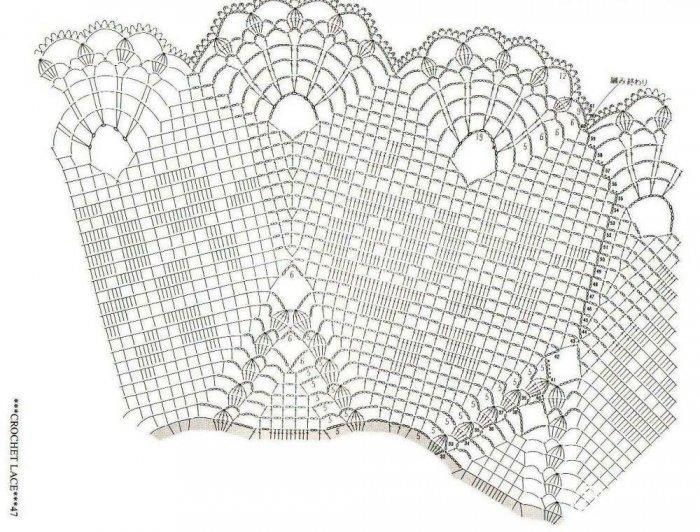 钩针编织蕾丝桌布图解教程 手工钩织桌布
