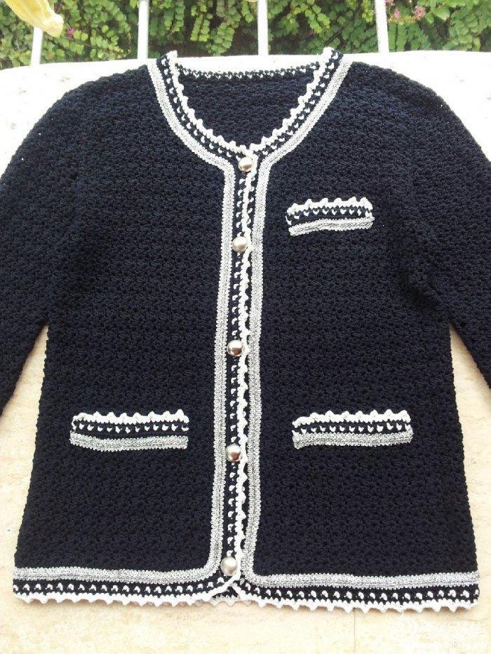 小香风外套 附图解 女士长袖开衫外套 - 壹一 - 壹一编织博客