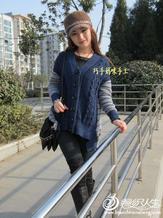 非主流的唯美宽松开衫倩影  女士灰蓝宽松毛衣开衫