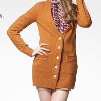 灰常爱女士长款开衫毛衣图片 编织时尚女士长袖